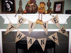 Give Thanks  Thanksgiving Burlap Banner Pennant by sherisewsweet, $25.00