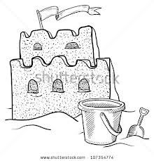 sand castle illustration.  Glue sand on the castle