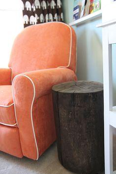 DIY stump side table.
