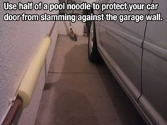 Half a pool noodle will protect the side of your car