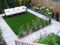 Small backyard with turf