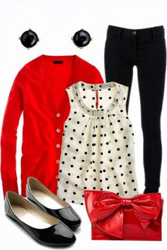 red cardigan outfit, black polka dot top outfit, polka dot blouse outfit, black skinnies work outfit, cute black outfit, polka dot tops, ador polka, polka dot clothes, red top polka dots