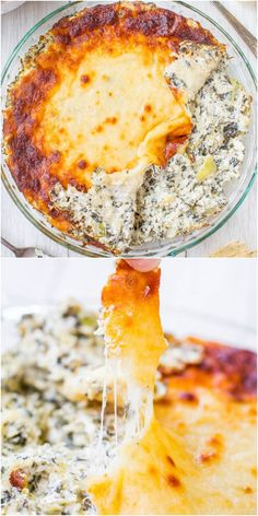 Baked Spinach, Artichoke, and Mozzarella Dip (GF) - Classic spinach & artichoke dip with mozzarella on top! Because everything is better with cheese! artichok dip, spinach artichoke dip, classic spinach, artichokes, dip gf, bake spinach, mozzarella dip, recip, dips