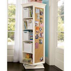 rotating storage bulletin board shelf bookcase