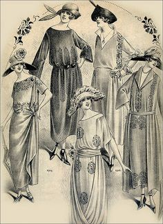 A charming selection of loose-fitting daytime dresses from the early 1920s (my favourite of which is that worn by the gal with the rose on her hat). #1920s #twenties #vintage #fashion #clothing #dresses #women