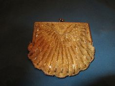 Vintage Gold Beaded Purse With Gold Chain In Shape Of by BitofHope, $36.00