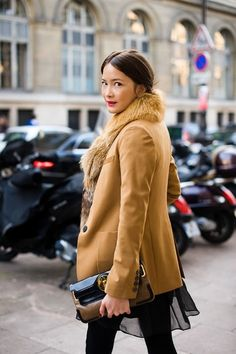 jacket, blazer, fashion styles, camels, street styles, red lips, fur, clutch bags, coat