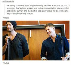 Once again, Supernatural rules everything, even men preferences. Because the truth of this... AMEN