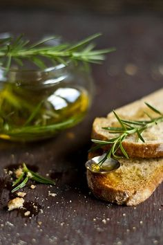 Olive oil and bread.