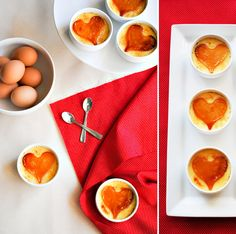Mini Cupid's Crème Brulee.  Topped with a carmelized sugar heart.  Only 4 ingredients:  heavy cream, vanilla bean, sugar & egg yolks.