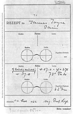 walkwhilereading:    James Joyce Prescription for New Glasses