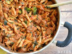 A simple pasta and sauce dish gets an upgrade with Italian sausage, feta, and plenty of vegetables. SNAP Challenge: Penne Pasta with Sausage and Greens - Budget Bytes