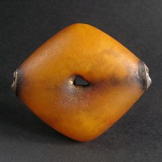 Nice ANTIQUE NATURAL AMBER bead w. metal caps. MAURITANIA | 235$ ~ sold