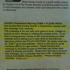VERY IMPORTANT PEOPLE..PAY ATTENTION...A MUST READ... AND IF YOU HAVE FAMILY..TALK TO YOUR FAMILY, YOUR WIFE, DAUGHTERS, GIRLFRIENDS, SISTERS, MOTHERS AND FEMALE FRIENDS..DON'T LET THIS HAPPEN TO ANY OF THEM...PLEASE. THIS COULD HAPPEN ANYWHERE..PLEASE.