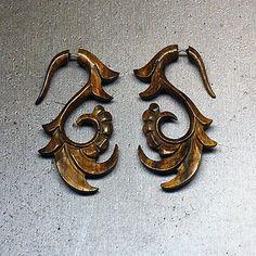 Sofial Curls  Fake Gauges  Tan Wood Earrings by PrimalOriginals, $23.00