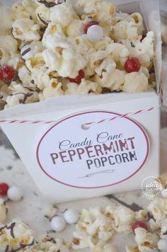 peppermint-popcorn   theidearoom.net yummi yummi, gooey popcorn, candies, cane popcorn, candi cane, candy canes, yummi eat, christma