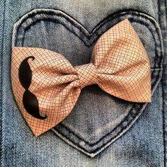 fabric hair bow! Love the mustache