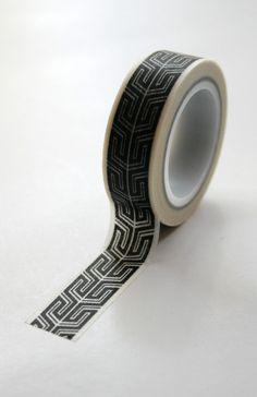 Washi Tape - 15mm - Black Interlocking Pattern on White - Deco Paper Tape No. 508