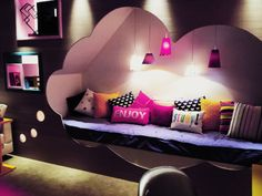 awesome space to curl up and read! love the thought bubble design
