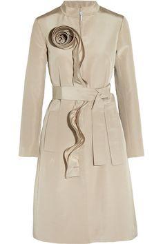 Oscar de la Renta  Ruffle-trimmed silk coat