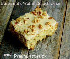 Buttermilk-Walnut Snack Cake with Praline Frosting