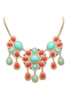 Coral & Turquoise Rio Necklace