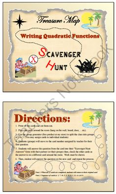 Scavenger Hunt - Writing Quadratic Function from nevergiveuponmath on TeachersNotebook.com -  (14 pages)  - This activity will allow students to move around the room. There are 12 cards with 12 different problems illustrating the 12 models of writing a quadratic model.