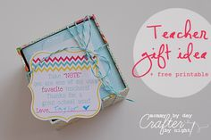 Teacher gift idea + free printable {Teacher Appreciation} by Mommy by Day Crafter by night www.skiptomylou.org #teacherappreciation #teachergiftideas #freeprintables