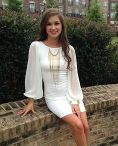 Fitted White Dress #swoonboutique