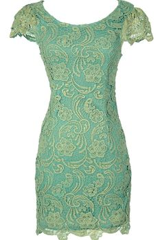 Nila Crochet Lace Capsleeve Pencil Dress in Mint Shimmer  www.lilyboutique.com  $45.00