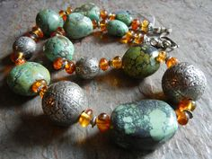 Chunky Turquoise Amber and Sterling Necklace by spottedhorsestudio, $180.00