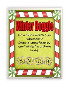 Winter boggle board and letters - FREE