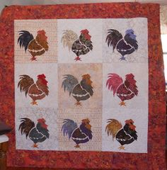 chicken, cabin quilter, log cabins, rooster, quilt idea