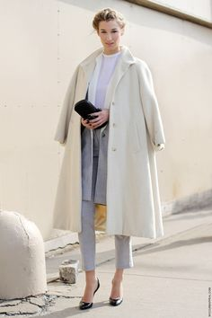 beautiful cream coat and not-too-masculine lady suit