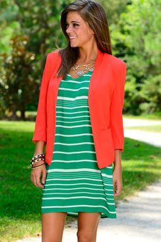 Multi Striped Dress, Green