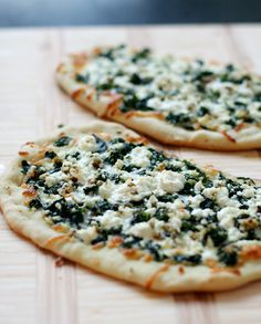 Goat Cheese and Swiss chard pizza!