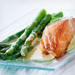 Salmon Steak and Asparagus with Aioli