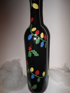 Christmas Bulb Hand Painted Up-cycled Wine Bottle