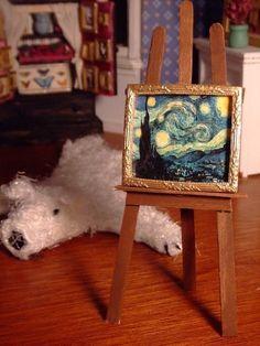 Miniature framed Starry Night by LDelaney on Etsy.