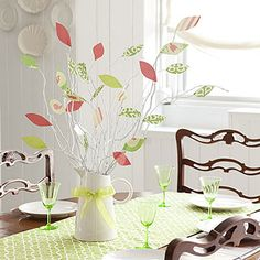"Patterned paper makes this display -cut leaf shapes, each about 2½"" long, out of paper in assorted patterns and colors...."