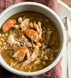 Warm up with this Southern Gumbo while using up those holiday #leftovers! #healthyrecipe