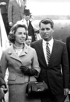 Ethel Kennedy & Robert F. Kennedy  Photo Credit: John F. Kennedy President Library Museum/Courtesy HBO kennedi women, robert kennedi, rfk, jfk, amaz women, camelot, bobbi, kennedi famili, ethel kennedi