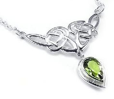 Sterling Silver Celtic Knot Knotwork Necklace with a Bright