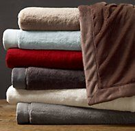 Luxury Plush Throw / restoration hardware / fog or dune