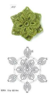 Tejido Facil: Patrón: Flor verde con relieve preciosa :)