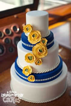 yellow flowers, nautical wedding, yellow weddings, blue, wedding cake designs, wedding cakes, yellow cakes, sugar flowers, green flowers