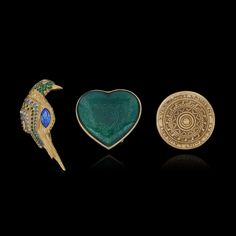 YVES SAINT LAURENT and SCHERRER. Two brooches and one scarf ring