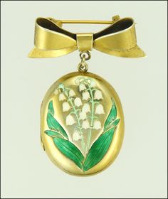 English Silver Gilt Bow Pin & Lily of Valley Enamel Locket