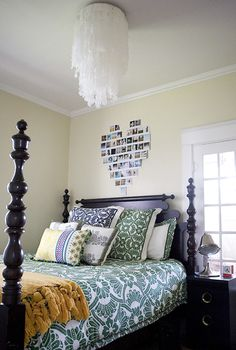 Love the chandelier and the heart pic above the bed
