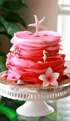 Hot Pink Beach Theme Wedding Cake
